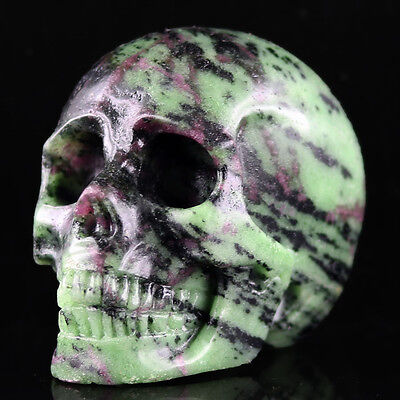 """3.15"""" RUBY ZOISITE Carved Crystal Skull, Realistic,Crystal Healing,D36"""