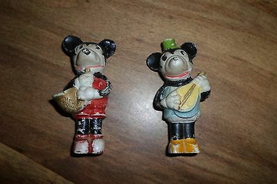 Rare Antique pre-WWII Mickey & Minnie Mouse bisque figurines Japan **Worldwide**