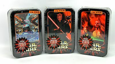 (3) Star Wars Episode 1 Topps Widevision Trading Card Packs & Tin Lot