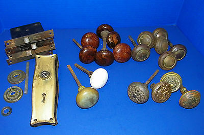 Lot of Vintage &  Antique Door Knobs Plates Mechanisms Bennington Embossed Metal