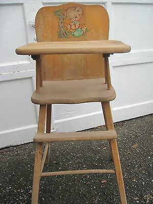 Antique Childs wooden high chair 50s vintage