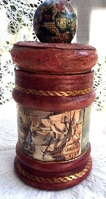 Antique Nautical Handpainted Leather Tobacco Jar w/ Old Map Globe on Lid Italy