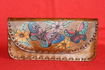 Vintage/Retro Butterfly Floral Design Festival Hippy Tooled Leather Purse Wallet