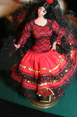 Vintage spanish Flamenco Doll plastic red dress Made in Spain  Raquel