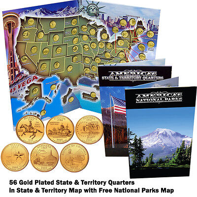Complete 56 State and Territory Quarter Collection Gold Plated in Folder Map COA