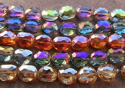 Large Faceted AB Cut Glass Oval Nugget Electroplated Jewel Beads Crystal 23x18