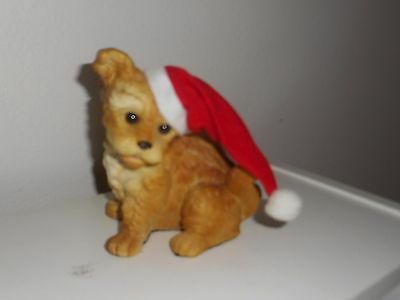 Norfolk Terrier In Santa Hat Collectible Christmas Dog Figurine