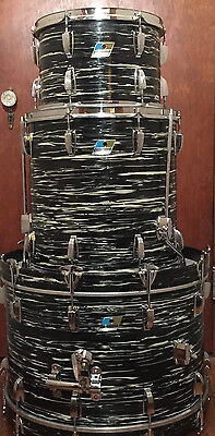 1971 Ludwig Maple 3 Piece Black Oyster Pearl Drum Kit. Excellent Condition!