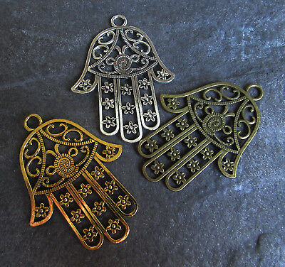 Big Hamsa Hand Filigree Metal Pendant Gold Silver Bronze 82x62mm