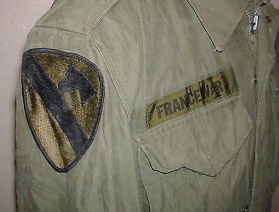 NAMED 1960's 1ST CAV SMALL VIETNAM M-51 FIELD COLD WEATHER JACKET M65 M1951