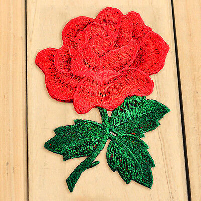 1X Red Rose Flower Buiter Floral cloth Applique Iron-on Patches DIY Sew on craft