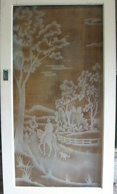 Vintage Glass Door - The Drover and His Dog - Australiana