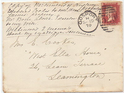 Gb Very Rare Old Duplex  Cover 1879  Penny Red  Stamp GG-GG.