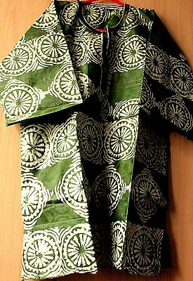 New Unique West African embroidered Danshiki top batik tye dye mens Green mix