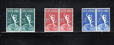 South Africa 1949 75th Anniversary of UPU bi-lingual pairs SG 128/30 MH