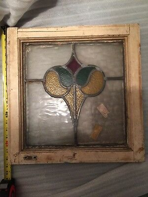 OLD ENGLISH LEADED STAINED GLASS WINDOW Stunning Floral Sash Transom Antique
