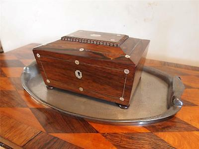 Sewing or work box Victorian Rosewood and Mother of Pearl inlay c1870