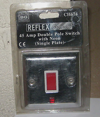 Bg Chrome 45 Amp Double Pole Single Plate Switch With Neon Ch674