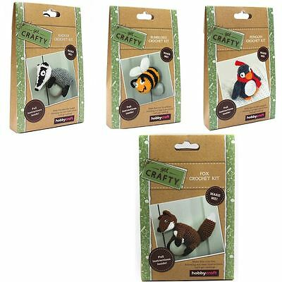 Hobbycraft Get Crafty Crochet Animals Kit Set Making Knitting Yarn Needle DIY