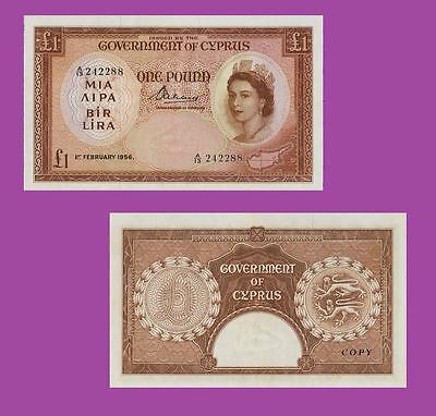 Cyprus Government £1 1.2.1956. UNC - Reproductions