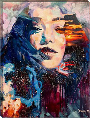 Painting by Number kit Beauty Sunglow Lady Woman Mountain Abstract Style HT7044