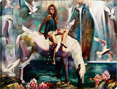 Painting by Number kit Beauty and Whit Horse Lady Woman Beast Pigeon DIY HT7045