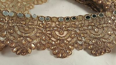 *Stunning antique gold mirrored diamante trim lace for crafting decor edging 1M