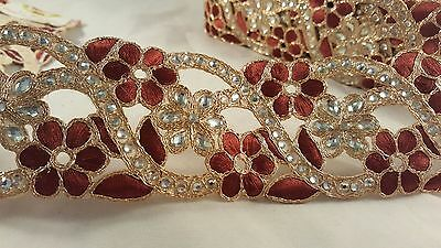 6cm- 1 meter Stunning brown & gold embellished diamante trim lace for crafting