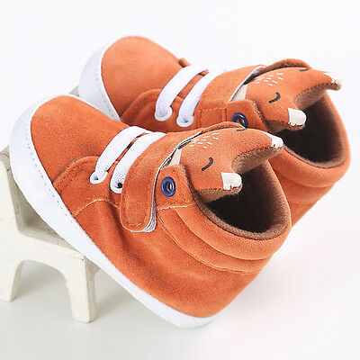 Toddler Baby Kids Girl Boy Fox High Ankle Shoes Anti-slip Soft Crib Sole Sneaker