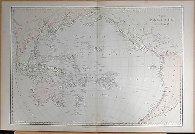 1882 Large Antique Map - The Pacific Ocean