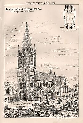 1881 Antique Architectural Print- Newtown Church, Exeter, S W View
