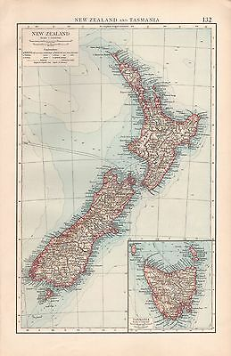 "1900 ""times""  Large Antique Map - New Zealand And Tasmania"