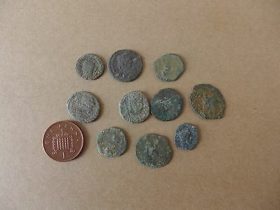 10 Uncleaned British Found Roman Coins Dating 3rd-4th Century AD (24)