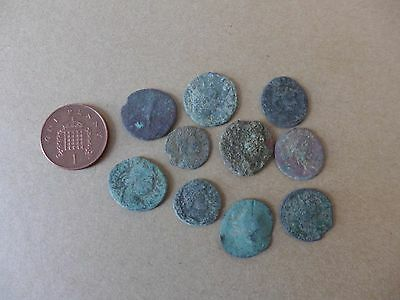 10 Uncleaned British Found Roman Coins Dating 3rd-4th Century AD (15)