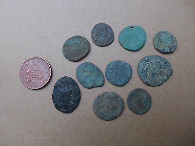 10 Uncleaned British Found Roman Coins Dating 3rd-4th Century AD (23)