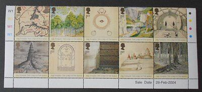 GB 2004 Lord of the Rings mint MNH - pane of 10 full set with cylinder LOTR