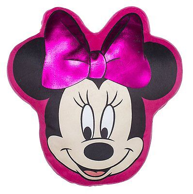Girls Pink Disney Minnie Mouse Makeover Shaped Plush Cushion New