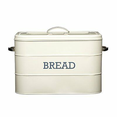 Large Vintage Metal Bread Bin, Cream, Home Kitchen Food Storage Retro Loaf Box