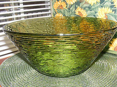 Vintage Soreno Anchor Hocking Green Glass Salad Bowl from 50's-60's T4