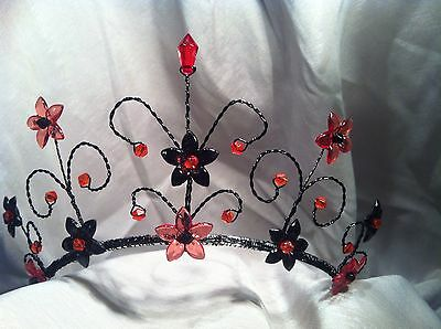 Handcrafted Black/Red Gothic Bride, Prom, Xmas Party Fancy Dress Tiara Headress