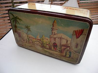 Antique Large colourful Lithograph tin  Arabian Oaisis with lock