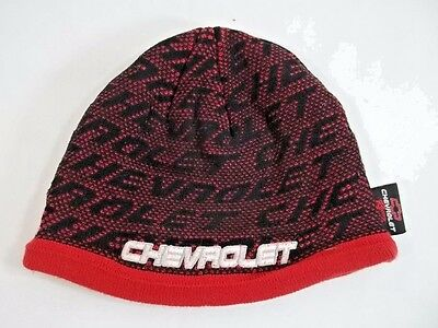 Chevrolet Racing Stocking Cap Beanie Tobaggan Red Black Youth