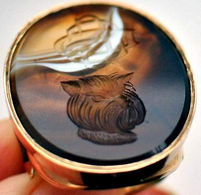 Very Rare Antique Gold Intaglio Carved Agate Ring Of A Dogs Head