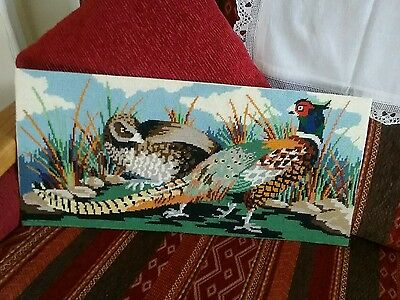 completed needlepoint tapestry picture panel of pheasants