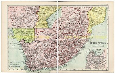 South Africa, - Antique, Colour, Map, 1910, With Inset Of Cape Town