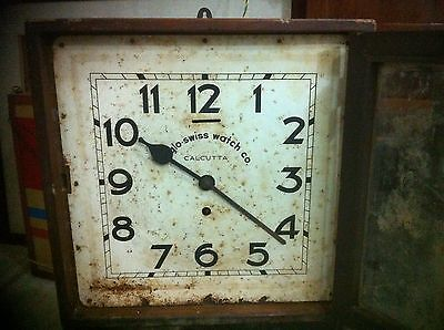 RARE ANGLO SWISS WATCH CO ANTIQUE WOODEN PUNCH CARD TIME RECORDER CLOCK 1910s