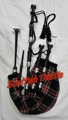 Great Highland Bagpipes Rose Wood Black Silver Mounts/Scottish Bagpipe Full Set