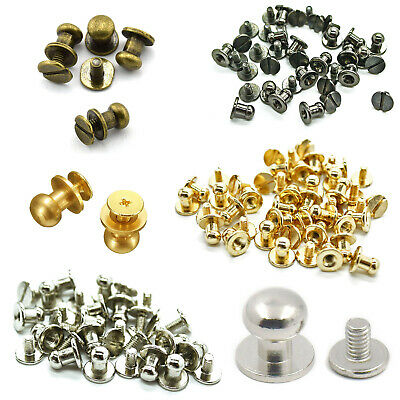 50 Pcs 8mm Chicago Rivet Screw Back Round Head Nipple Brass Stud Leather Crafts