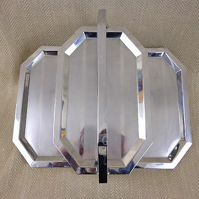 Vintage Art Deco Folding Cake Stand Display Chrome Plated 3 Tier 1920s 30s Vtg