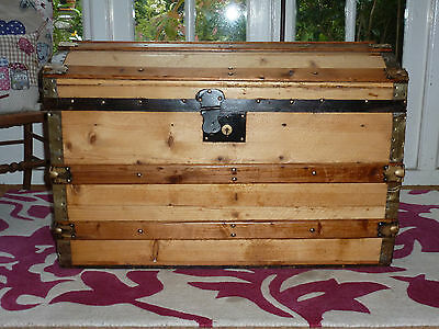 Restored Large Antique Victorian Dome Top Travel Trunk Chest Vintage Retro